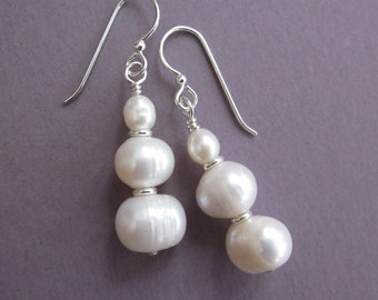 freshwater pearl triplet stacked dangle earrings