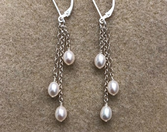 bead droplets seed pearls on chains - cluster earrings