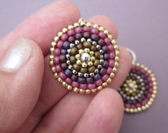 Mandala earrings - mauve, berry, maroon and gold seed bead stitched by hand
