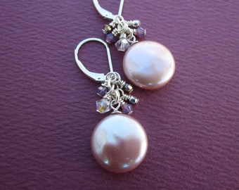 pale pink coin pearl earrings with crystal fringe wire wraps on sterling lever backs