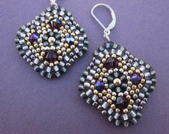 diamond medallion mixed metal seed bead and Swarovski crystal beaded earrings