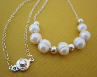 large freshwater pearl and sterling bead floating chain necklace