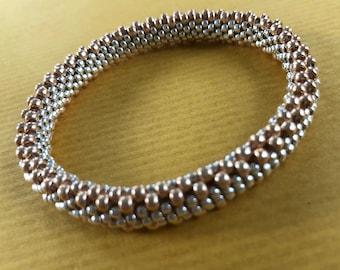 flat weave endless bead crochet bracelet in soft gold and bright aluminum silver -- plus FREE bead crochet pdf tutorial