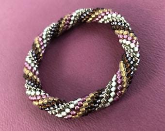 endless spiral crochet bracelet in grape, bronze, brown, gray, nickel glass seed beads -- plus FREE bead crochet pdf tutorial