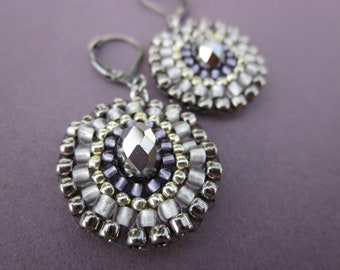 oval medallion silver, steel and chrome crystal - mandala lever back earrings