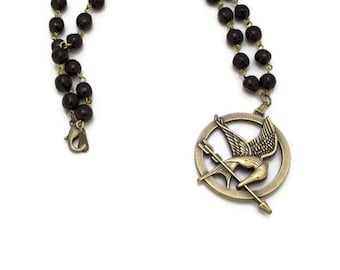 Bird Necklace Black Rosary