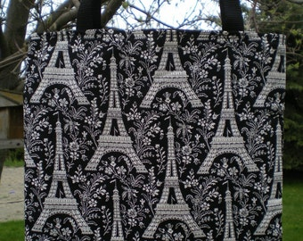 Eiffel Tower Tote Bag Paris France Champ de French Vacation Fun Lunch or Book Bag Great Gift Handmade Purse