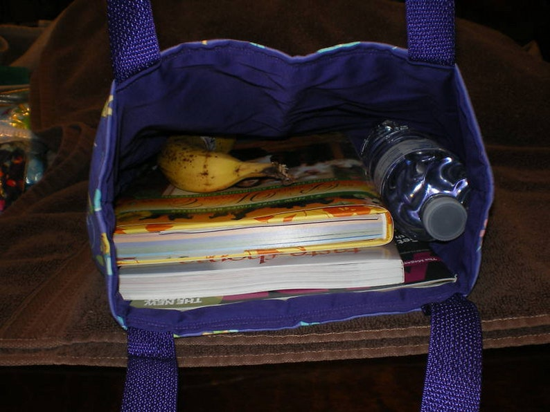 Lunch Book or Knitting Bag Handmade Purse Paisley Flower Tote Bag Blue Purple Gold Perfect Gift