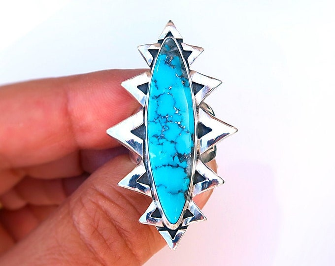 Agave Ring with Vintage Stock Ithaca Peak Turquoise. Size 8. One-of-a-kind treasure.