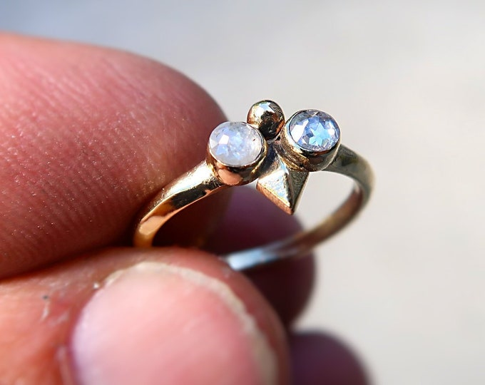 14K solid gold Goddess Ring with two grayish perfectly imperfect beautiful diamonds