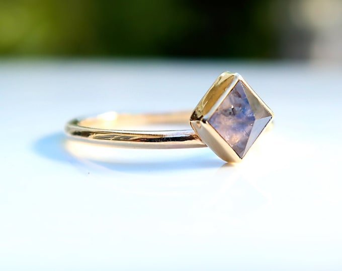 Rose Cut Sapphire ring set in all 14K Solid Yellow Gold in Size 7