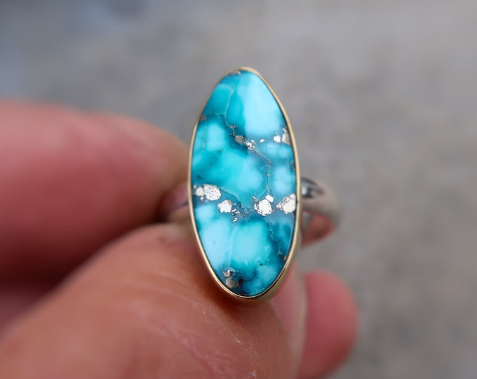 Mixed Metal 18K and Sterling Silver with Hight Grade Whitewater Turquoise and Pyrite in Size 7.5