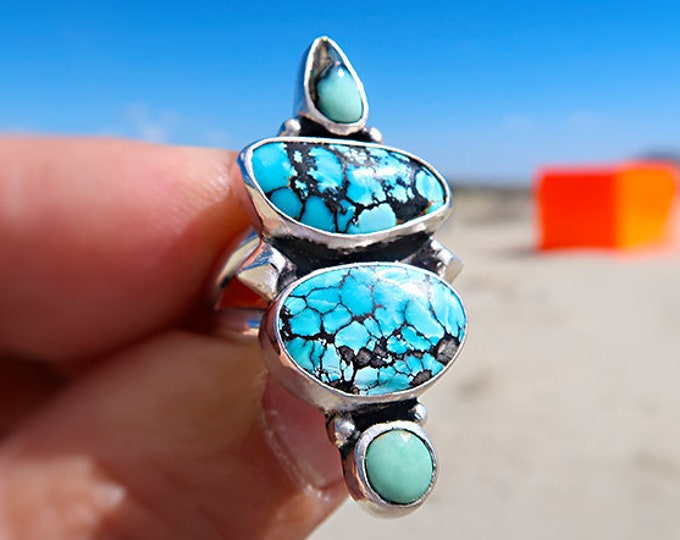 Gnome four stone ring with Snowville, Damele Variscite and Nevada Turquoise Size 7.5