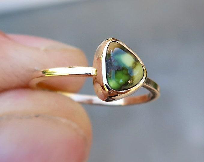 Natural High Grade Damele 14K Solid Gold Ring in Size 6.5
