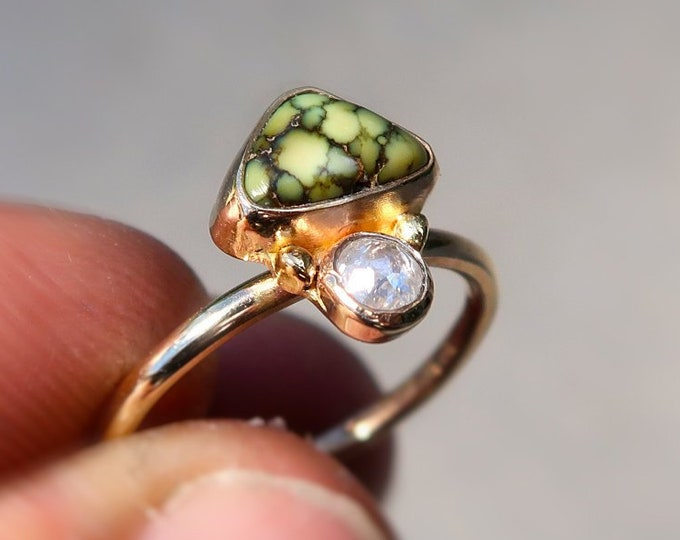 14K solid gold with high grade Damele Variscite and this perfectly imperfect very beautiful diamond