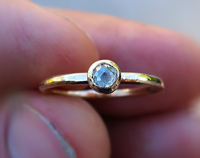 14K solid gold Solitaire Ring with this grayish perfectly imperfect beautiful diamond