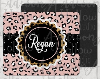 Pink Leopard Print Family Name Personalized Sublimation DIGITAL DESIGN Template Instant DOWNLOAD for Mousepads
