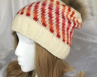 0717b6632c8 Tequila Sunrise one of a kind beanie color pattern hand knit fur pompom  colorful fleece lining