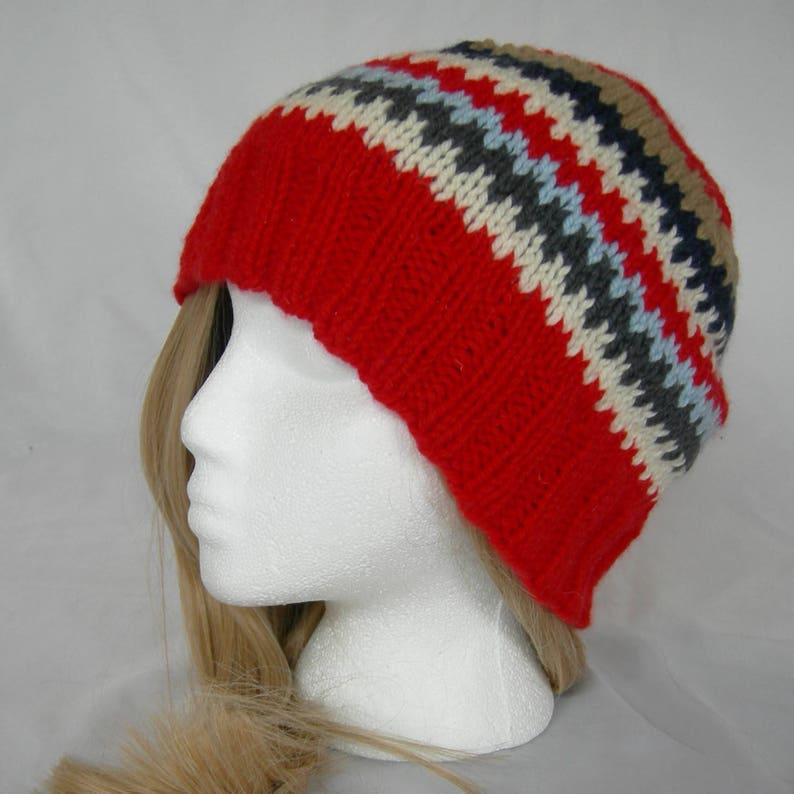 f00e8066b14 Red Cashmere Fair Isle Soft Beanie Navy White Gray winter hat