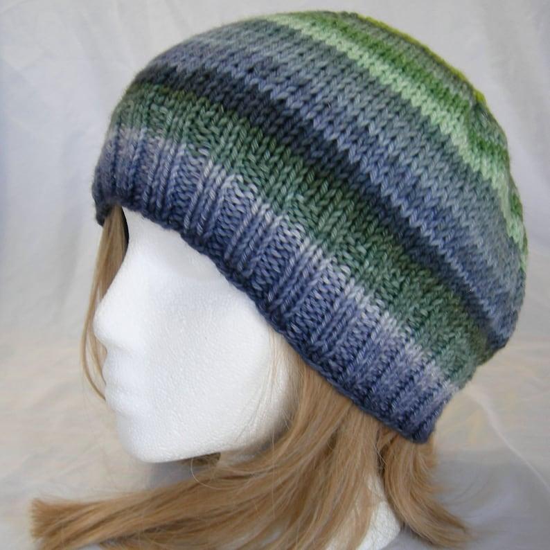 417264a89a6 Navy Blue Bottle Green striped beanie merino stripes hand knit