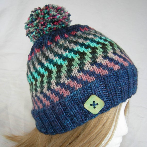 471f062d58e Luscious Electric Fair Isle beanie hat button hat hand knit