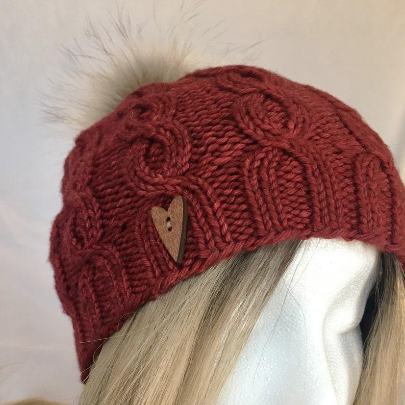 cfa7f5cdf53 Cereza luxe hand knit cable beanie fur pompon winter hat