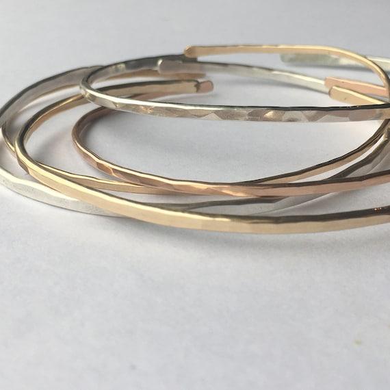 Hammared Cuff Bracelet RSG687 15x160mm Rose Gold Plated Hammared Bangle Cuff Bangle