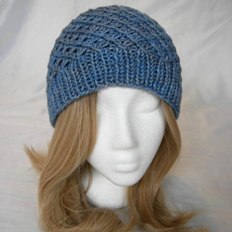 767e0e6f98d Moody Blue merino crosshatch pattern hat hand knit winter