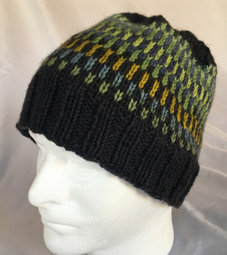 eafb52f0248 Hand Knit gradient beanie fair isle wool navy blue mens hat