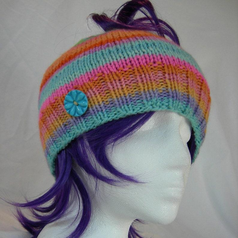 da3d13d630b Messy Bun Ponytail hat Cashmere blend beanie stripes hand knit