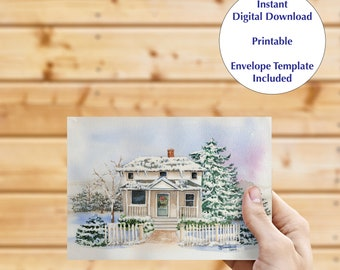 Instant download greeting card, blank inside card, digital download, fine art card, Christmas card, note card