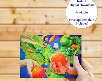 Instant download greeting card, blank inside card, digital download, fine art card, kitchen note card, card for chef