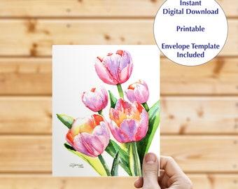 Instant download greeting card, blank inside card, digital download, fine art card, floral note card, flowers