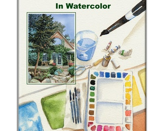 Instant Download, painting lesson, How To Paint Trees In Watercolor Booklet, pdf art lesson, landscape painting