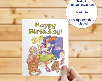 Instant download greeting card, blank inside card, digital download, birthday card, note card