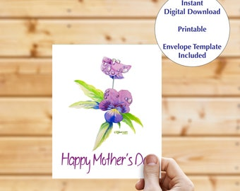 Instant download greeting card, blank inside card, digital download, mothers day card, note card