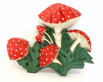 Vintage Toadstool Mushroom Wall Plaque Painted Red with White Polka Dots by Syroco 1972