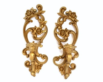 Pair of Vintage Ornate Gold Wall Sconce Candle Holders by Homco 1971