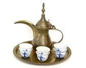 Arabic Coffee Serving Set which Includes Brass Dallah with Six Small Blue White Ceramic Cups on Round Etched Brass Tray