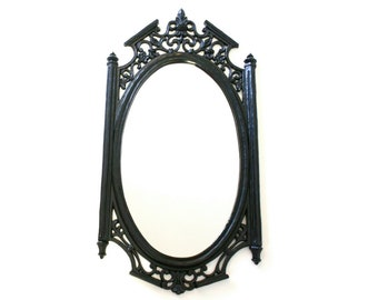 032a837e1f7e Large Vintage Wall Mirror with Ornate Black Frame by Syroco 1965