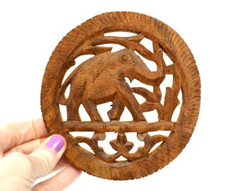 Carved Wooden Elephant Trivet or Wall Hanging