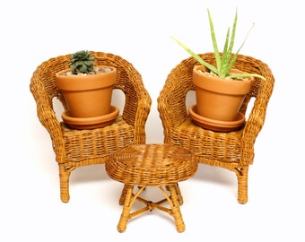 Three Piece Set of Doll Size Wicker Furniture (Two Chairs and One End Table)