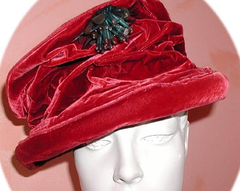 3d3fcbd2 1930's Tippy Hat Topper ~ 21 In ~ Velvet ~ Top Hat ~ Steampunk ~ Gothic ~  Fascinator ~ Red~ Celluloid Sequin Pin