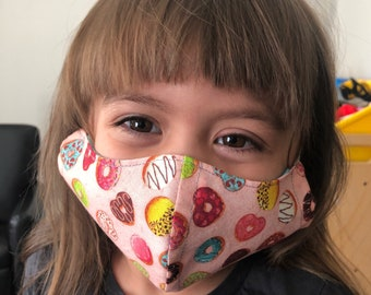 Small Kids Face Mask Pink Donuts