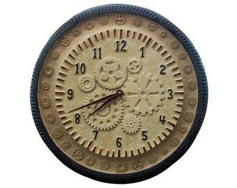 "Gears Ceramic Wall Clock in Cream , Rust & Steel Glazes (15"" diameter)"