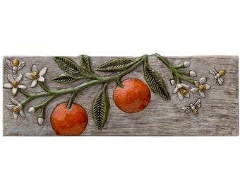 Oranges, Blossoms & Bees Ceramic Art Sculpted Tile