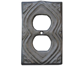 Moroccan Ceramic Duplex Outlet Cover in Steel Glaze