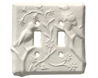 Birds Ceramic Art Double Toggle Light Switch Cover in Off White Glaze