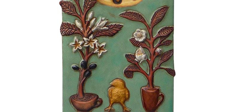 Café, Thé et oeufs Céramique Art Cuisine Horloge murale en sarcelle et jaune (7,5  de large x 14,5 po de haut)