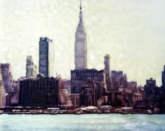 New York City Skyline  - Polaroid SX-70 Manipulation - 8x8 Fine Art Photograph, Wall Decor